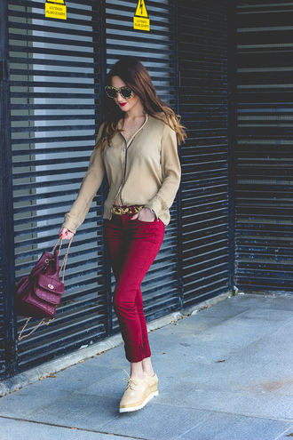 shoes and basics blogger blouse sunglasses red pants leather backpack
