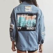 jacket,itgirl shop,36683,kfashion,korean fashion,fashion,tumblr,southkorean,ulzzang,streetstyle,aesthetic,clothes,apparel,kawaii,cute,women,indie,grunge,pastel,kawaiifashion,pale,style,online,kawaiishop,freeshipping,free,shipping,worldwide,palegoth,soft grunge,softgoth,minimalist,inspiration,outfit,itgirlclothing,denim jacket,denim,jeans,ripped,holes,ripped jacket,where is my mind,where is my mind jacket