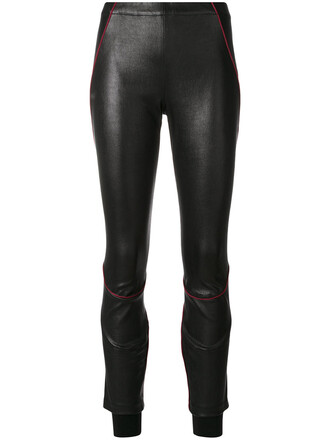 women fit leather black pants