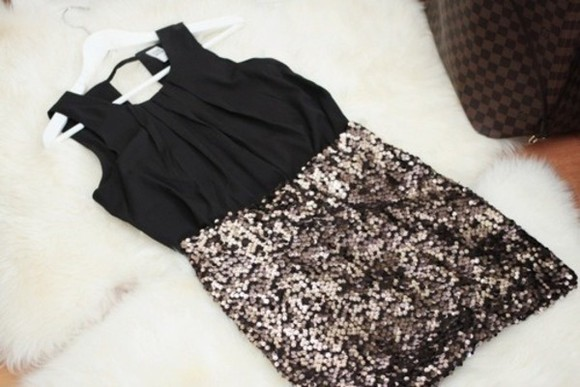 dress glitter black sparkle girly rosy fashion vintage style gold sparkles cute outfit ideas cute dress sequin dress, gold, sparkles, glitter, sleeveless bodycon dresses bodycon white hat short pretty black little dress silver girl