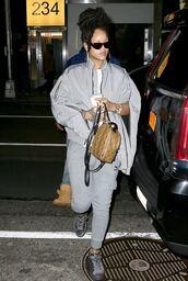 jacket,grey,rihanna,streetstyle,sweatpants,pants