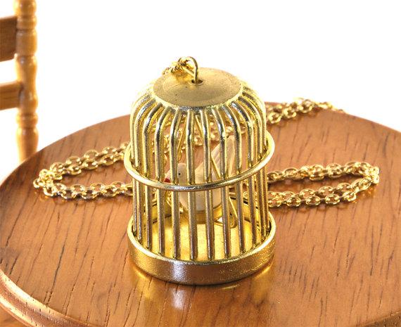 Bird Cage Necklace Birdcage Pendant van twopennylane op Etsy