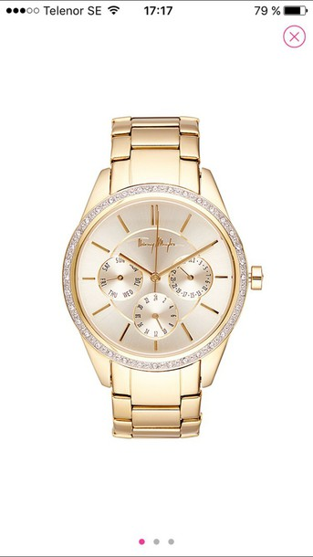 thierry  mugler gold watch watch jewels