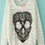 White Long Sleeve Lace Skull Pattern Sweater - Sheinside.com