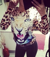 sweater,animal print,pather,sweater tigerprint tiger lovethis