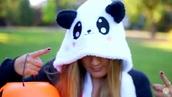 pajamas,panda onesie,laurdiy,black and white,cute