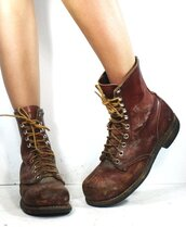 shoes,boots,combat boots,grunge,ripped,indie,lace up,lace up boots,brown