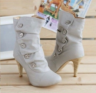 shoes buttons beige gray