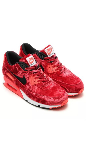 shoes, nike, nike air max 90, velvet, red, sneakers Wheretoget