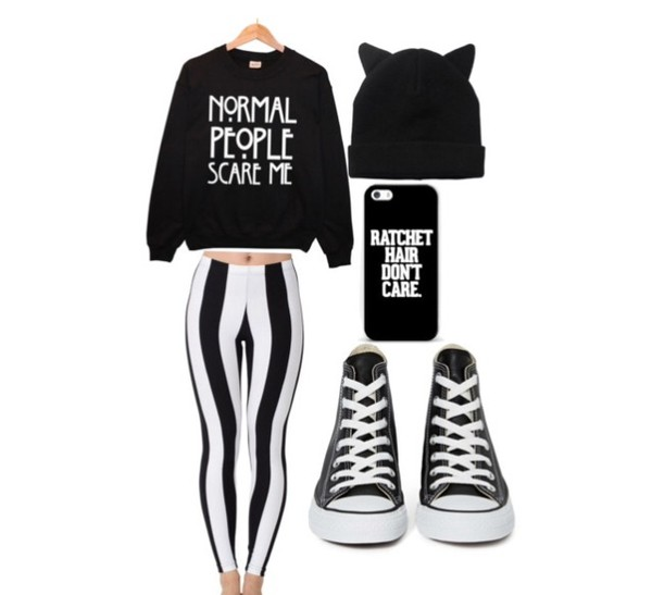 leggings stripes beanie phone cover shoes