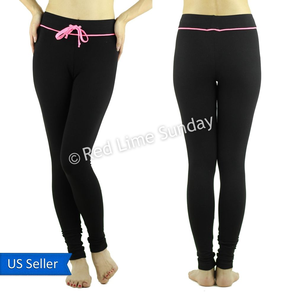 New Comfy Cotton Black Yoga Casual Pink Drawstring Pants Jogger Leggings Tights