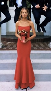dress,red,prom,square neckline,strappy,cute,need ,spaghetti strap,spaghetti straps dress,orange dress,orange,formal dress,formal,prom dress,prom gown,long dress,mermaid prom dress,tiered dress,layered,red dress
