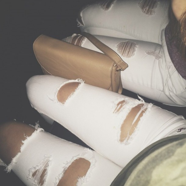 jeans ripped jeans white jeans fashion style white ripped jeans
