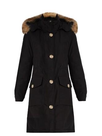 parka fur cotton black coat