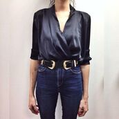 blouse,wrap top,silk,western belt,belt,office outfits,date outfit,three-quarter sleeves,high waisted jeans,top,silk top,black top,jeans,blue jeans,black belt