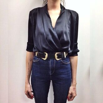 blouse wrap top silk western belt belt office outfits date outfit three-quarter sleeves high waisted jeans top silk top black top jeans blue jeans black belt
