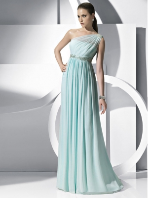 Buy Holy A-line One-shoulder Floor Length Chiffon Prom Dress under 200-SinoAnt.com