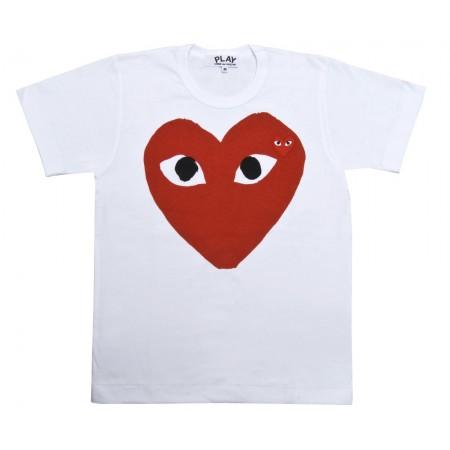 Red Play T-Shirt (White) | T-Shirts | Play | Comme Des Garçons