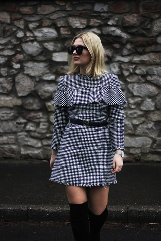 maisie ivy blogger dress shoes belt jewels sunglasses mini dress zara thigh high boots boots