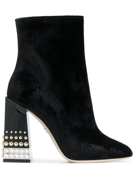 Dolce & Gabbana women ankle boots leather black velvet shoes