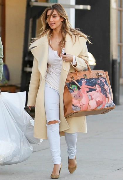kim kardashian oversized cardigan coat jacket creme style classy