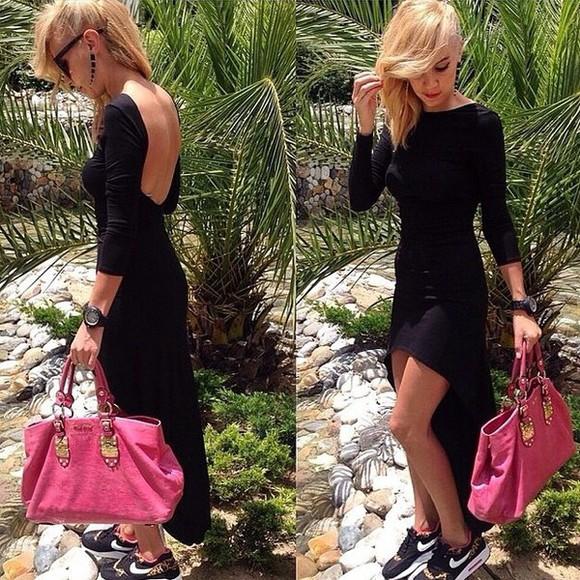 dress backless dress long sleeve dress black dresses sexy dress party dress