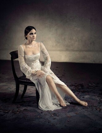 dress gown wedding dress emma watson editorial lace dress