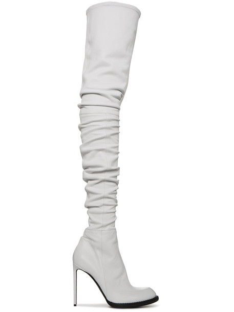 Haider Ackermann high women thigh high boots leather white shoes