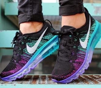 shoes nike blue purple black pink trainers