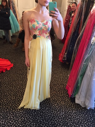 dress prom yellow pastel prom dress prom gown prom dresses 2014 floral dress