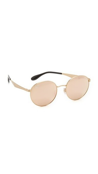sunglasses round sunglasses gold pink brown