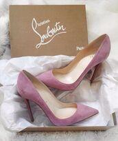 shoes,christian louboutin heels,louboutin,pumps,suede,suede shoes,pink,purple,heels,high heels,suede heels,lilac,violet,matte,light purple,pink high heels