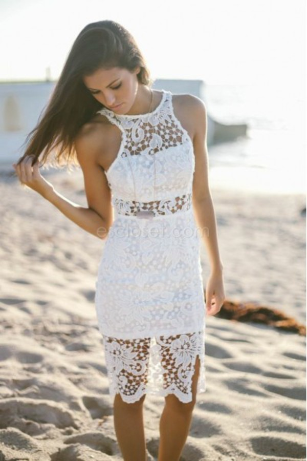 dress white outfit white lace dress white lace lace dress beach summer dress dress cute lace dress up party