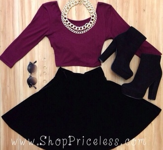 shoes want all shirt sunglasses jewels skirt top crop tops wine-red black boots outfit fall outfits outfit idea black skirt necklace gold pretty spring summer jewelry cute blouse shorts