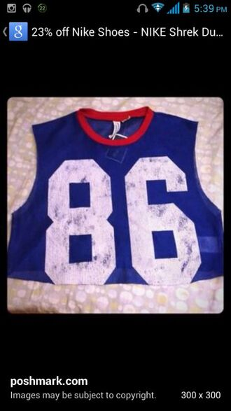 shirt blue red 86 white number jersey