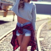 shirt,cropped sweater,grey,flannel,shorts,red,checked shirt,sweater,jacket,crop tops,plad shirt,denim shorts,blouse,jumpsuit,top,grey sweater,polyvore,long sleeves,long sleeve crop top,clothes,tumblr outfit,tumblr clothes