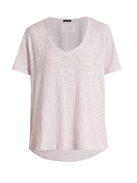 ATM t-shirt shirt t-shirt boyfriend cotton light purple top