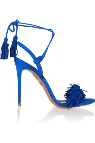 sandals suede blue bright shoes