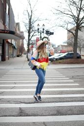 blonde bedhead,blogger,sweater,hat,jeans,shoes,bag,sunglasses,chanel bag,fall outfits,multicolored sweater