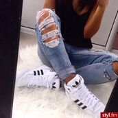 jeans,shoes,adidas shoes,white sneakers,sneakers,high top sneakers,clothes,adidas,black/white sneakers,ripped jeans,blue,white adidas shoes,sexy,adidas originals,women shoes,earphones,white,black,rippes jeans,blue wash ripped skinny jeans,adidas shoes black white,snickers,boyfriend jeans,adidas sweater,shirt,boyfriend ripped denim,black and white,black and white shoes,high,adidas sneakers!!!