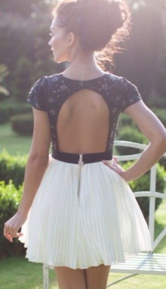 dress black and white lace dress backless dress beautiful dress