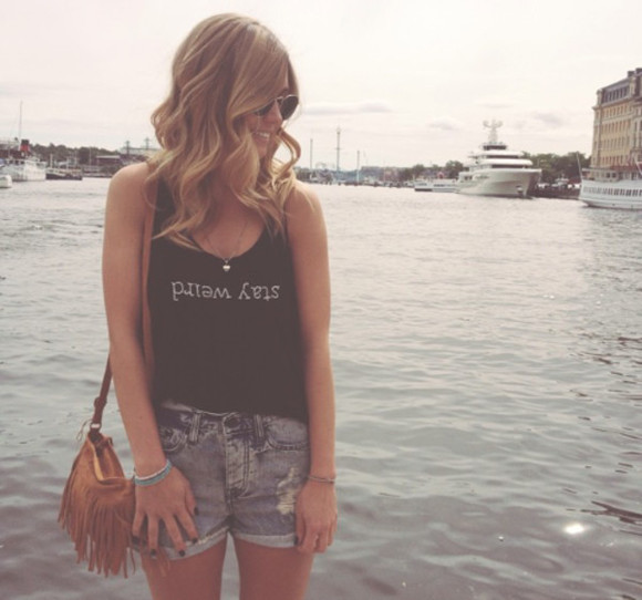 black tank top brandy melville brandy melville usa brandy melville top tank top top black top black croptop black crop top high waisted denim short denim high waited shorts denim shorts bag hippie bag boho leather bag leather bag brown
