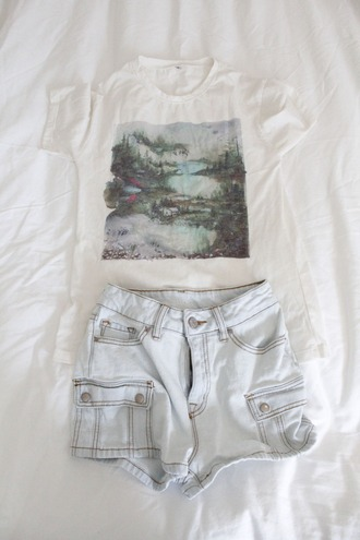 t-shirt forest shirt water plants watercolor painted paint shorts cargo cargo pants cargo shorts urban outfitters