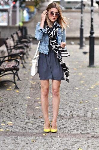 jacket black and white print scarf denim jacket navy dress yellow heels sunlgasses blogger