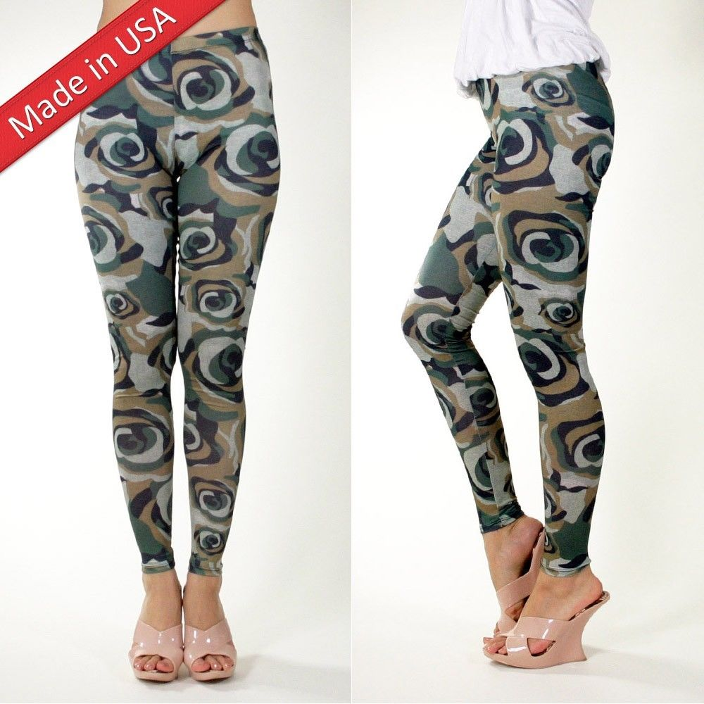 New Women Army Floral Camo Camouflage Green Leggings Pants Tights Made in USA