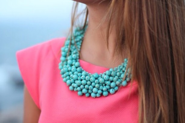 blouse pink magenta jewels baby blue necklace big pink magenta top baby blue big necklace
