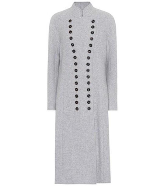 Chloe coat long wool grey