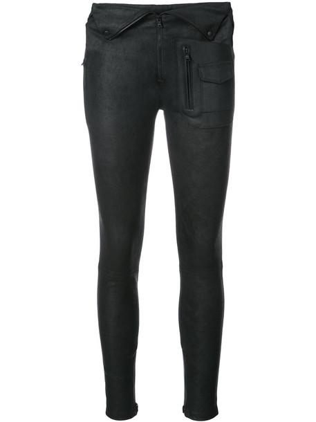 women leather black pants