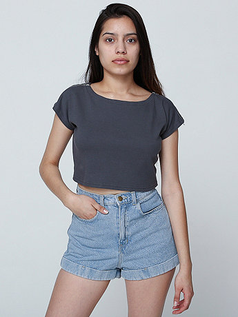 Interlock Zip Shoulder Crop Top | American Apparel