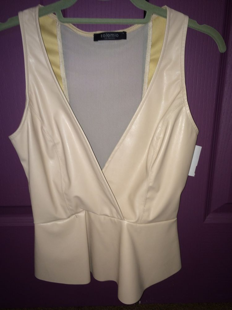 Pleather peplum sheer beige v plunge top size small